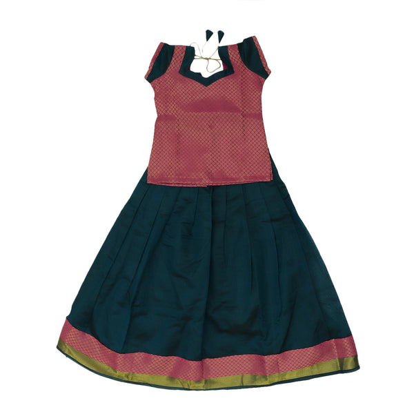 Paavadai Sattai - Pink and Dark Green with Wave Zari border ( 8 years)