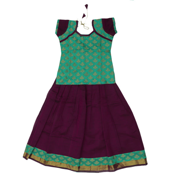 Paavadai Sattai - Light Green and Purple with Flower and Wave Zari border ( 7 years)