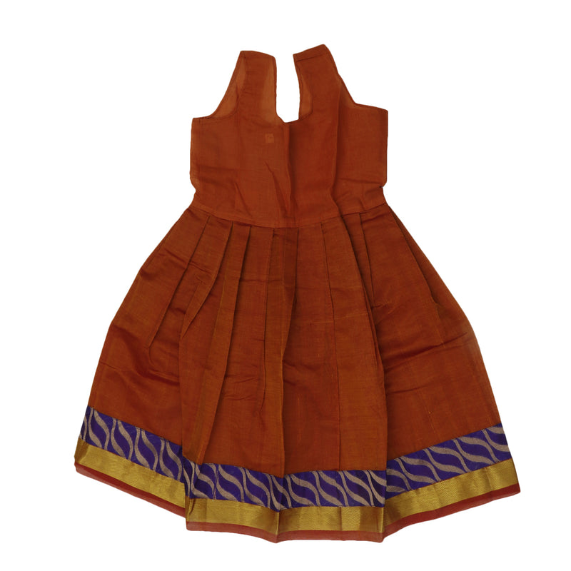 Paavadai Sattai - Blue and Honey Color with Wave Zari border ( 3 years)
