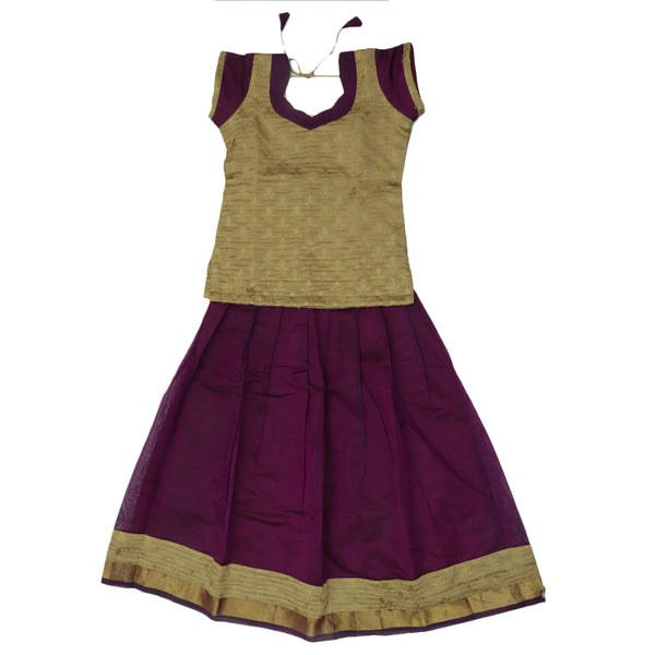 Paavadai Sattai - Beige and Violet with Wave Zari border ( 7 years)