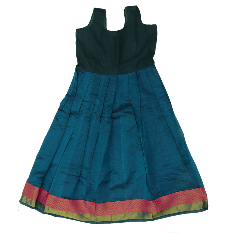 Paavadai Sattai - Pink and Peacock Blue with Wave Zari border ( 7 years)