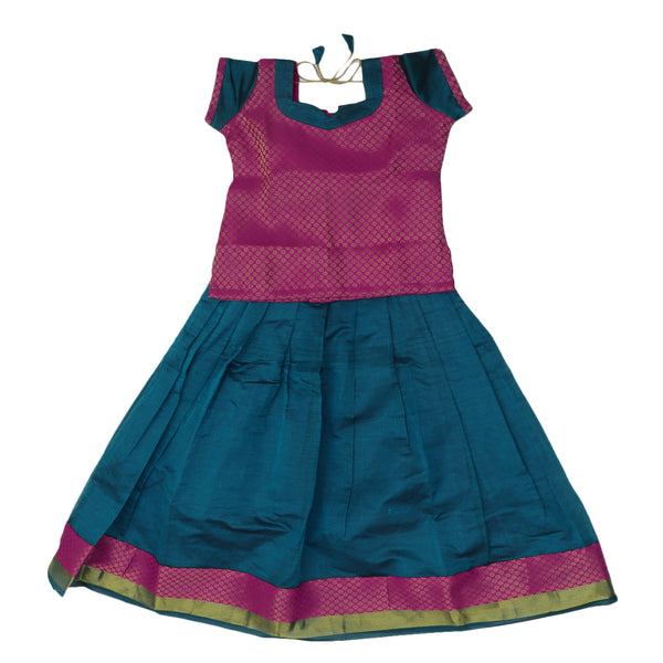 Paavadai Sattai - Pink and Peacock blue with Flower and Wave Zari border ( 7 years)