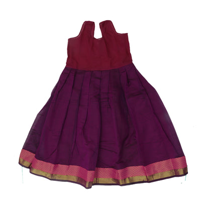 Paavadai Sattai - Pink and Violet with Flower and Wave Zari border ( 8 years)