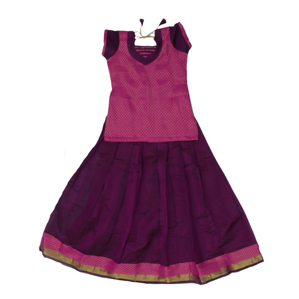 Paavadai Sattai - Pink and Purple with Flower and Wave Zari border ( 10 years)