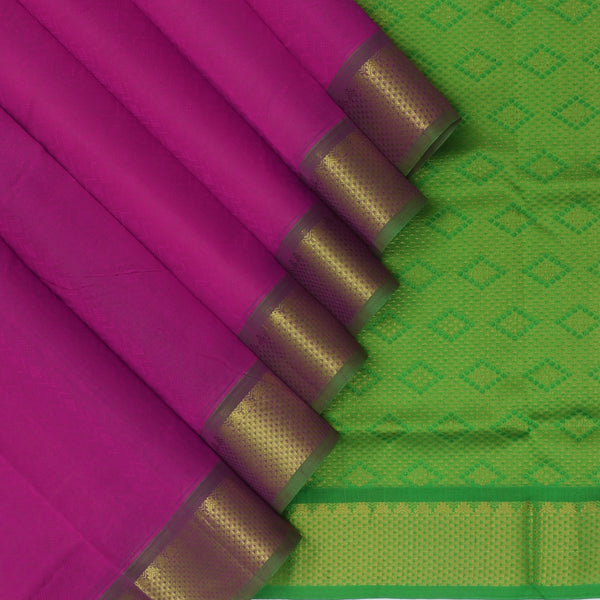 Silk Cotton Saree-Pink and Mehandi Green with Temple zari border Jacquard