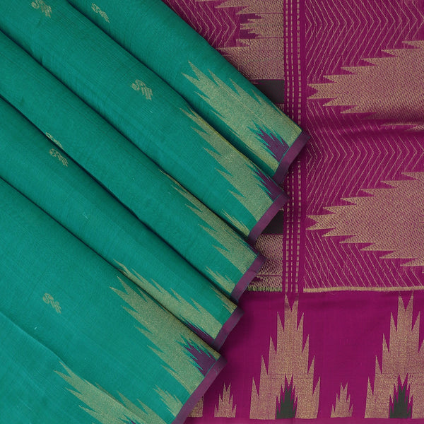 Silk Cotton Saree - Sky Blue and Pink with buttas and Temple zari border for Rs.Rs. 4190.00 | Silk Cotton Sarees by Prashanti Sarees