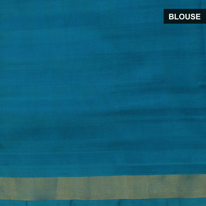 Silk Cotton Saree -Sky Blue and Yellow Paalum pazham with zari border