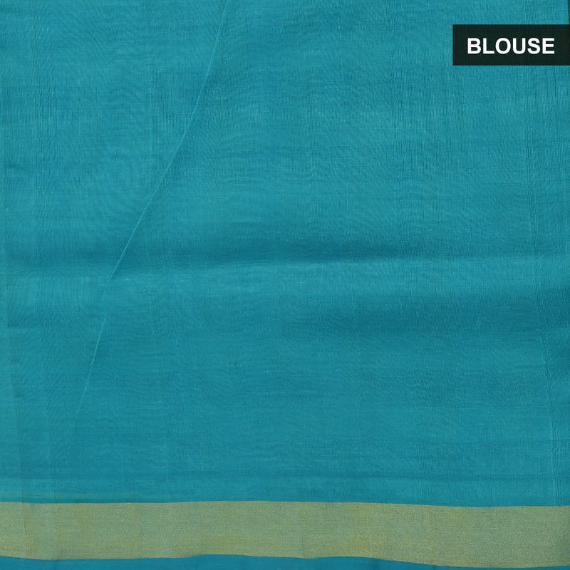 Silk Cotton Saree -Sky blue and Yellow Paalum pazham Check with zari border
