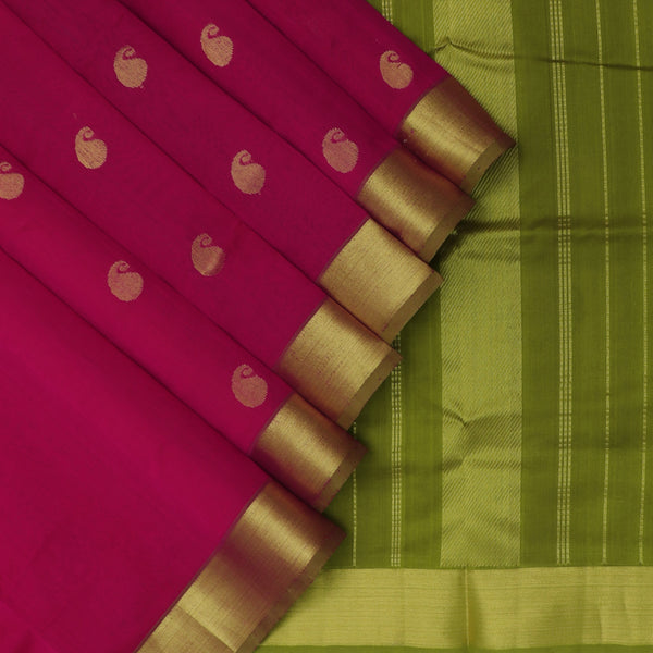 Silk Cotton Saree -Pink and Mehandi Green with buttas and zari border