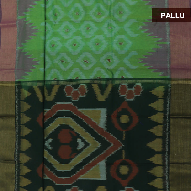 Kora silk Cotton saree Light Green with Ikkat prints and Zari Border