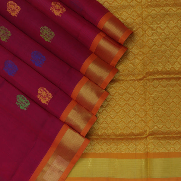 Silk Cotton Saree-Dual shade of Maroon with Blue and Honey color with Buttas and zari border