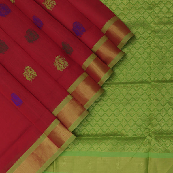 Silk Cotton Saree-Red and Mehandi Green with Buttas and zari border