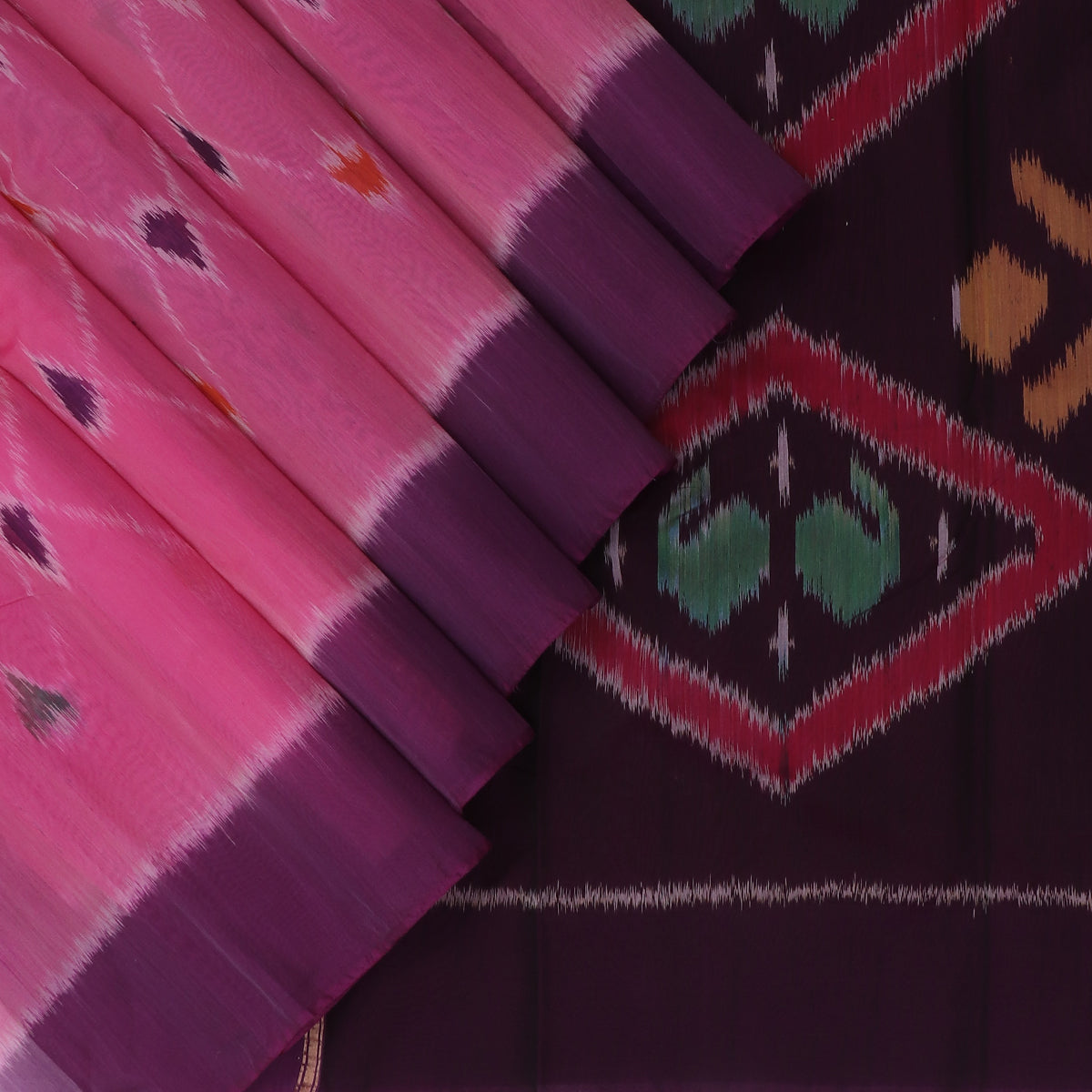 Kora silk Cotton saree Light Pink and Purple with Ikkat prints and Simple Border