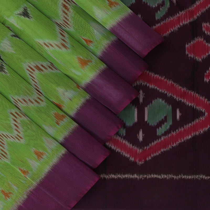 Kora silk Cotton saree Pear Green and Purple with Ikkat prints and Simple Border