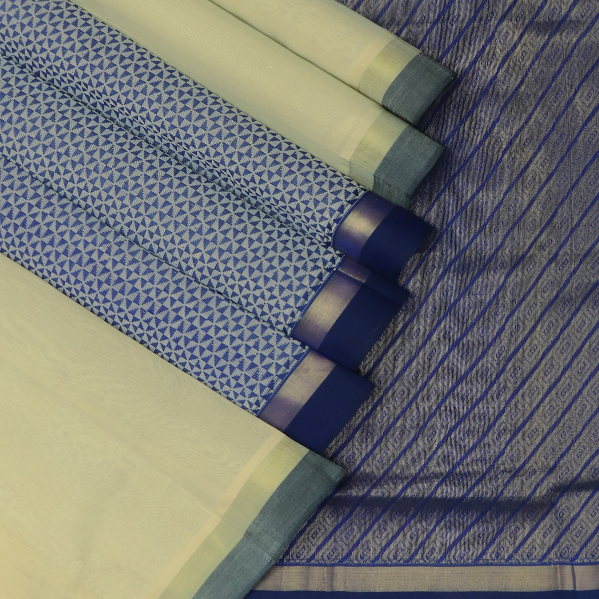 Silk Cotton Saree-White and Blue with Partly Pallu and Simple Zari Border