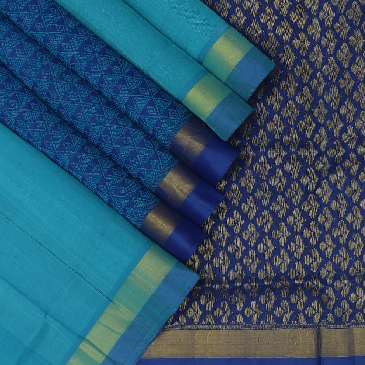 Silk Cotton Saree-Sky Blue and Blue with Partly Pallu and Simple Zari Border