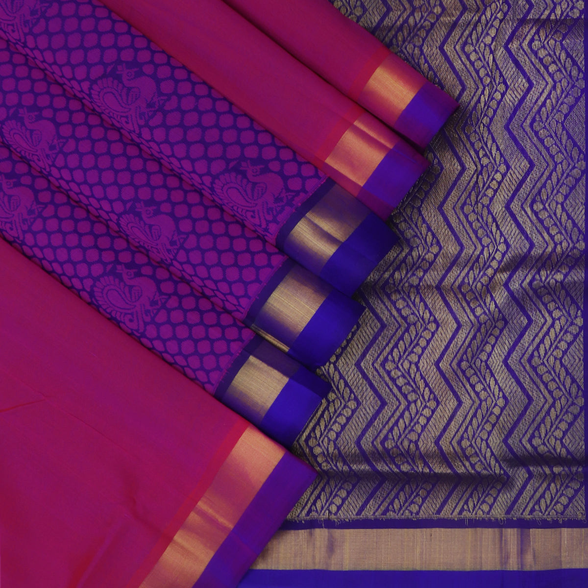 Silk Cotton Saree-Pink and Blue with Partly Pallu and Simple Zari Border