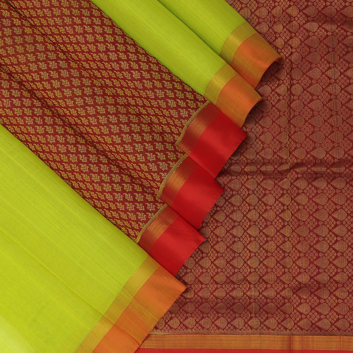 Silk Cotton Saree-Lime Green and Maroon with partly Pallu and Simple Zari Border