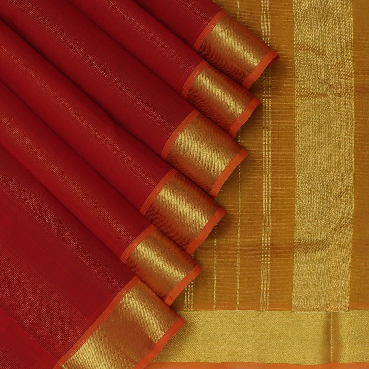 Silk Cotton Saree-Maroon and Honey Color with Traditional simple Zari Border Vairaosi