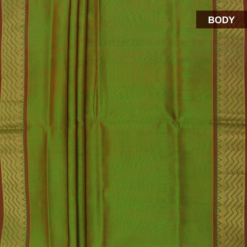 Silk Cotton Saree-Mehandi Green and Maroon with Wave zari border for Rs.Rs. 3240.00 | Silk Cotton Sarees by Prashanti Sarees