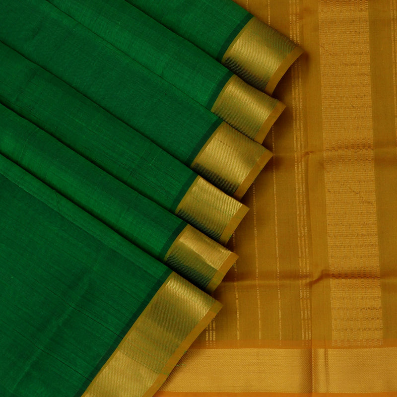 Silk Cotton Saree-Green and Mustard with Simple zari border