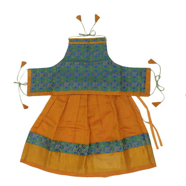 Paavadai Sattai -Green with Blue Embroidery and Honey Color with Zari border(2 years)