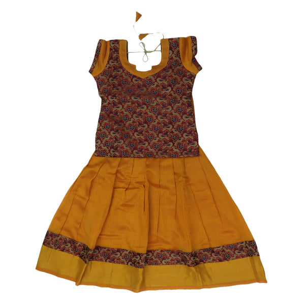 Paavadai Sattai -Maroon and Honey Color with Zari border(4 years)