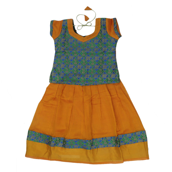 Paavadai Sattai -Green with Blue Embroidery and Honey Color with Zari border(3 years)
