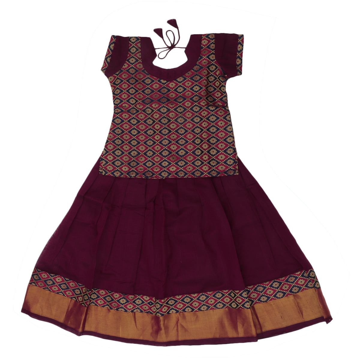 Paavadai Sattai -Blue with Maroon thraeded and Maroon with Zari border(5 years)