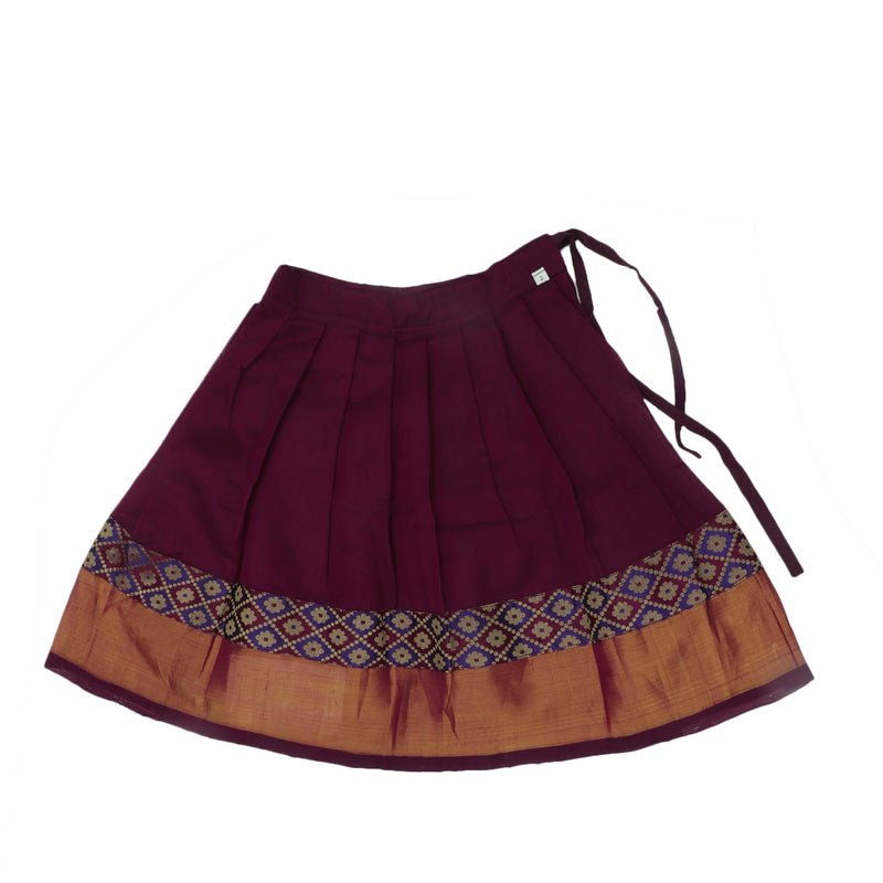 Paavadai Sattai -Maroon with blue thraeded and Maroon with Zari border(2 years)