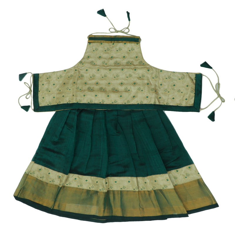 Paavadai Sattai -Beige with Embroidery and Dark Green with Zari border(2 years)