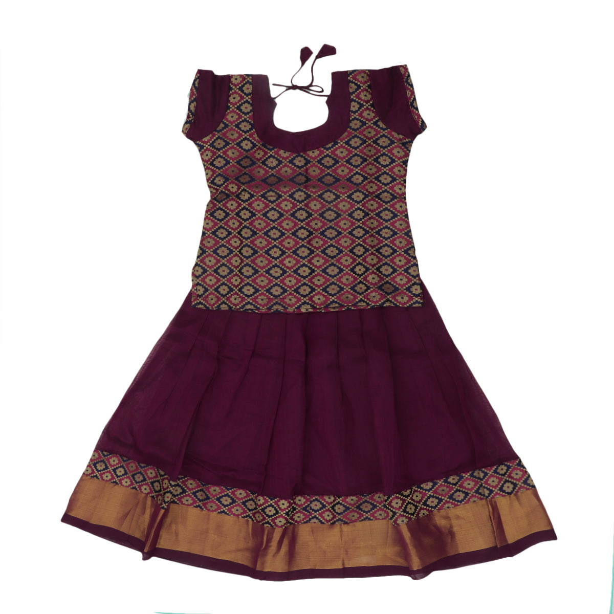 Paavadai Sattai -Maroon with Blue Threaded and Maroon with Zari border(4 years)
