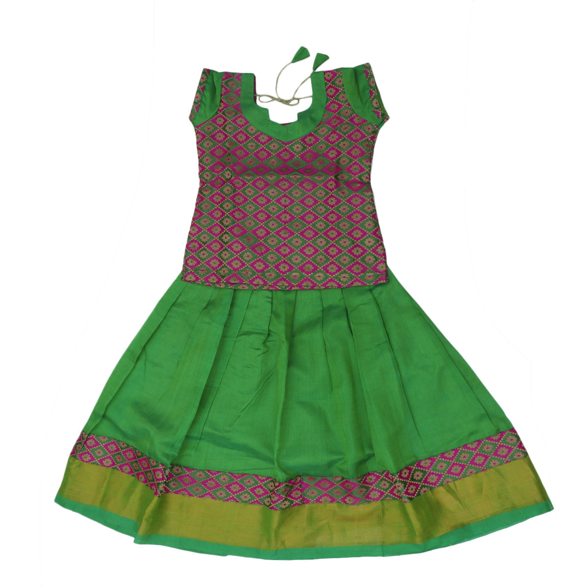 Paavadai Sattai -Pink with Embroidery and Light Green with zari border(5 years)
