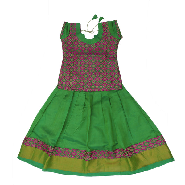 Paavadai Sattai -Pink with Embroidery and Light Green with zari border(5 years) for Rs.Rs. 2050.00 | Kid's Paavadai Sattai by Prashanti Sarees