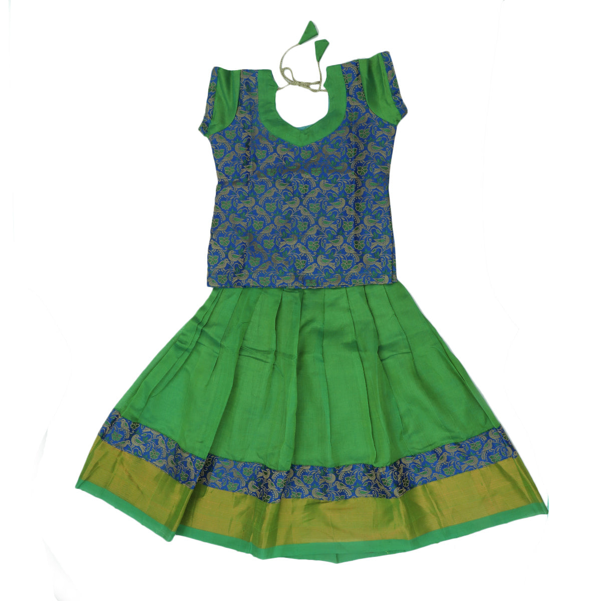 Paavadai Sattai -Blue with Embroidery and Light Green with zari border(3 years)