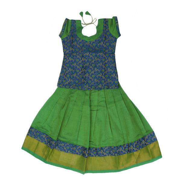 Paavadai Sattai -Blue with Embroidery and Light Green with zari border(4 years)