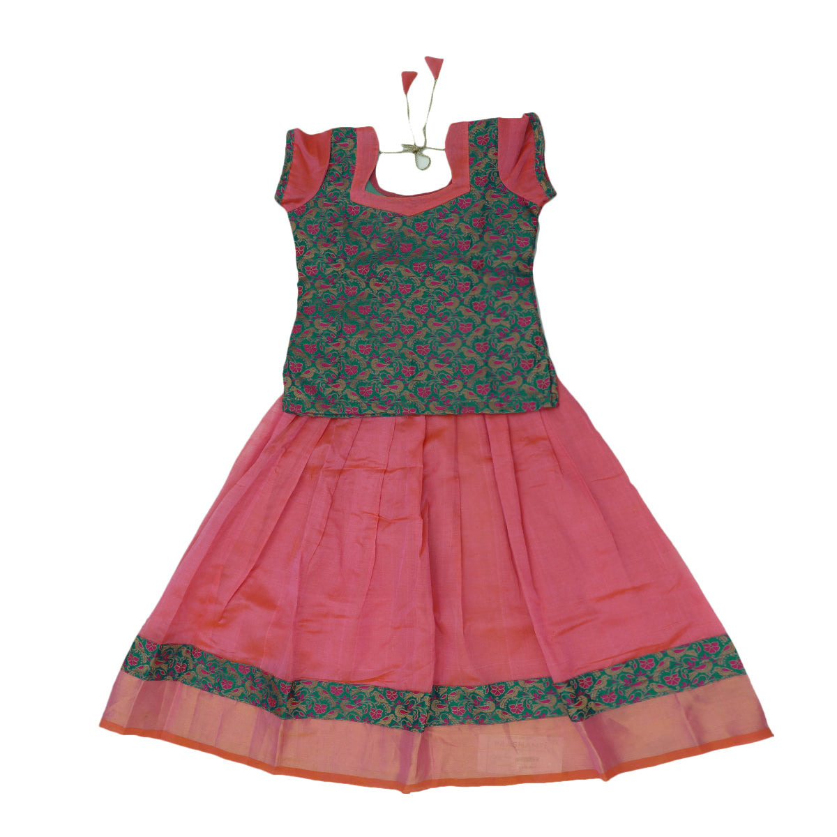 Paavadai Sattai -Pink and blue with Embroidery and Peach with zari border(6 years)