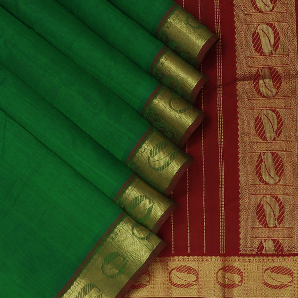 Silk Cotton Saree Dark Green and Maroon with Leaf Zari border 9 Yards