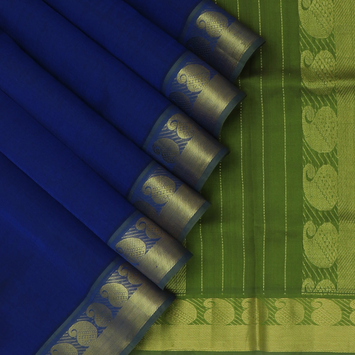 Silk Cotton Saree Blue and Mehandi Green with Mango Zari border 9 Yards