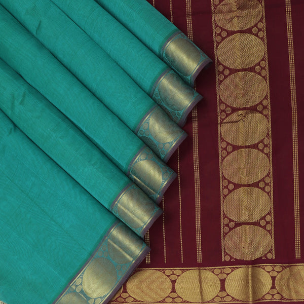 Silk Cotton Saree Teal Blue and Maroon with Round Zari border 9 Yards