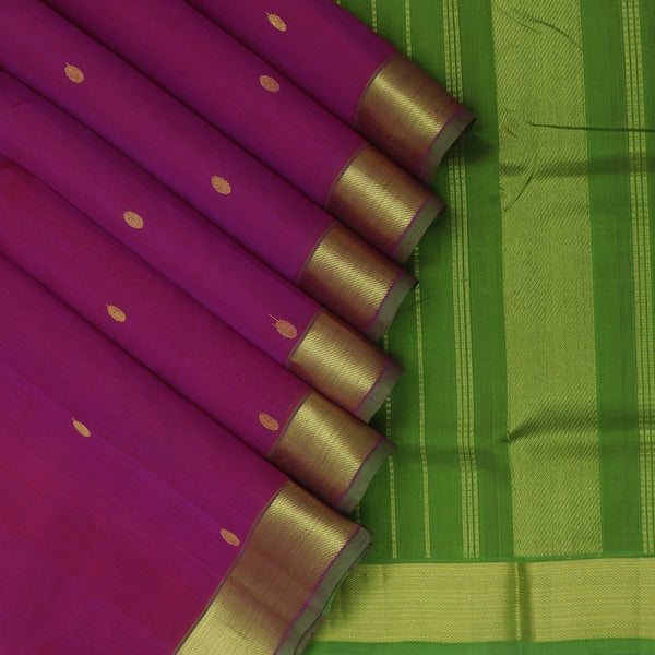 Silk Cotton Saree Magenta with buttas and Mehandi Green with Zari border 9 Yards