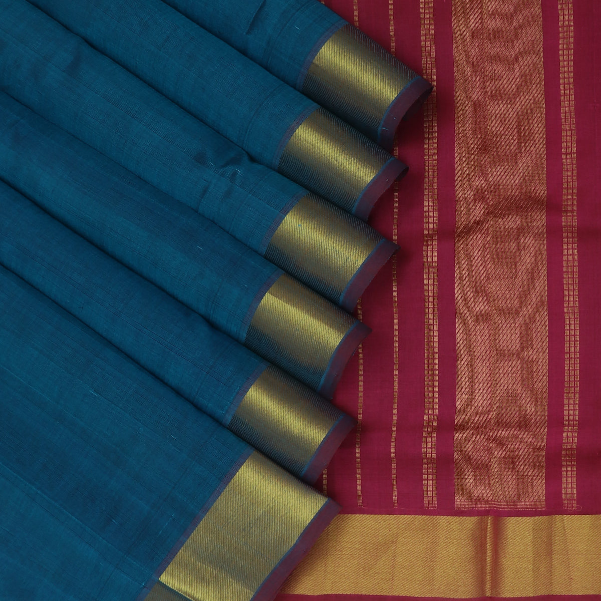 Silk Cotton Saree Peacock Blue and Violet with Zari border 9 Yards