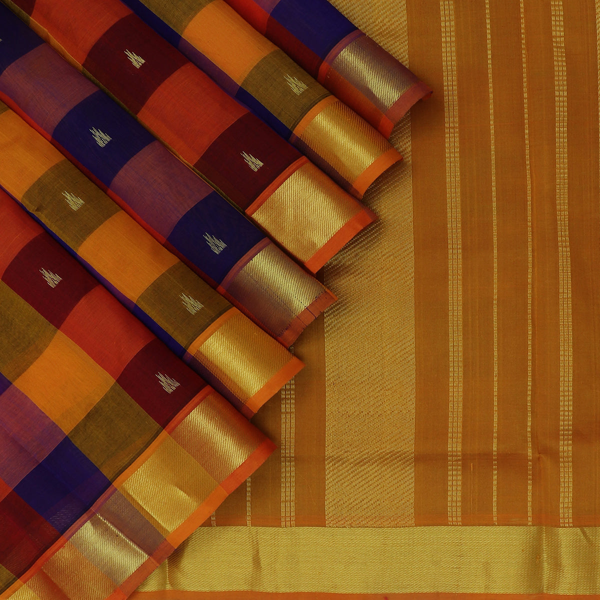 Silk Cotton Saree Multi color with buttas and Paalum Pazham kattam 9 Yards