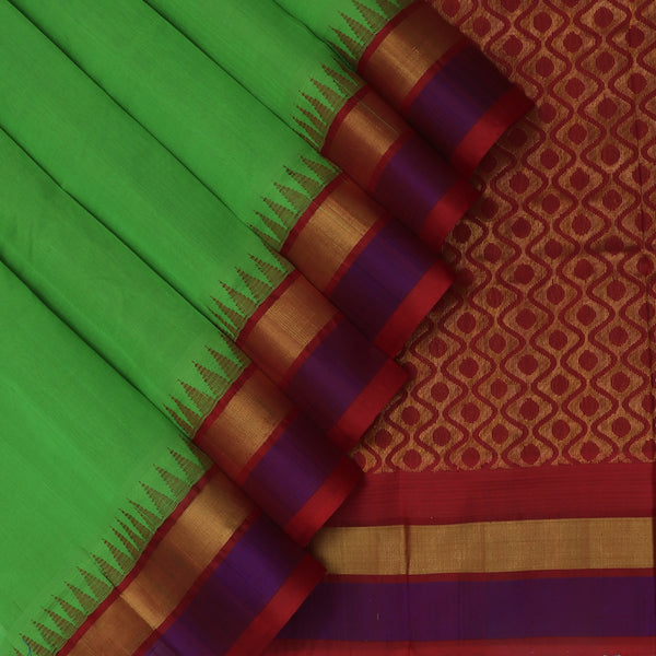 Kuppadam Silk Cotton Saree-Parrot Green and Maroon with silk border