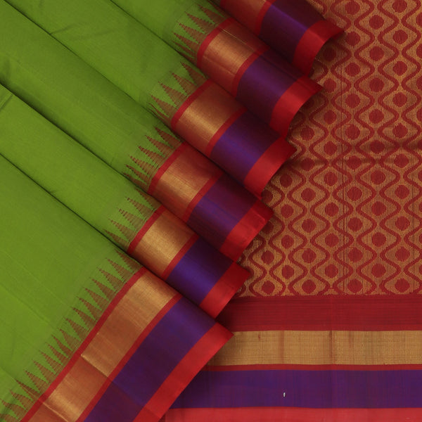 Kuppadam Silk Cotton Saree-Mehandi Green and Maroon with silk border