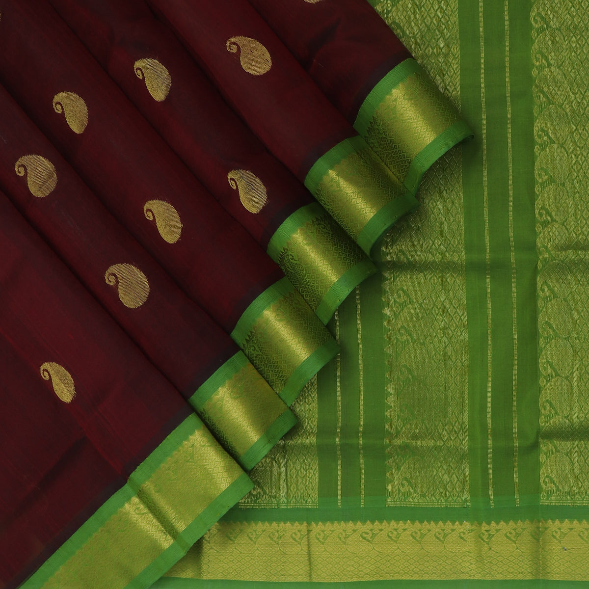 Silk Cotton Saree-Brown with buttas and Mehandi Green with Mango Zari border Korvai
