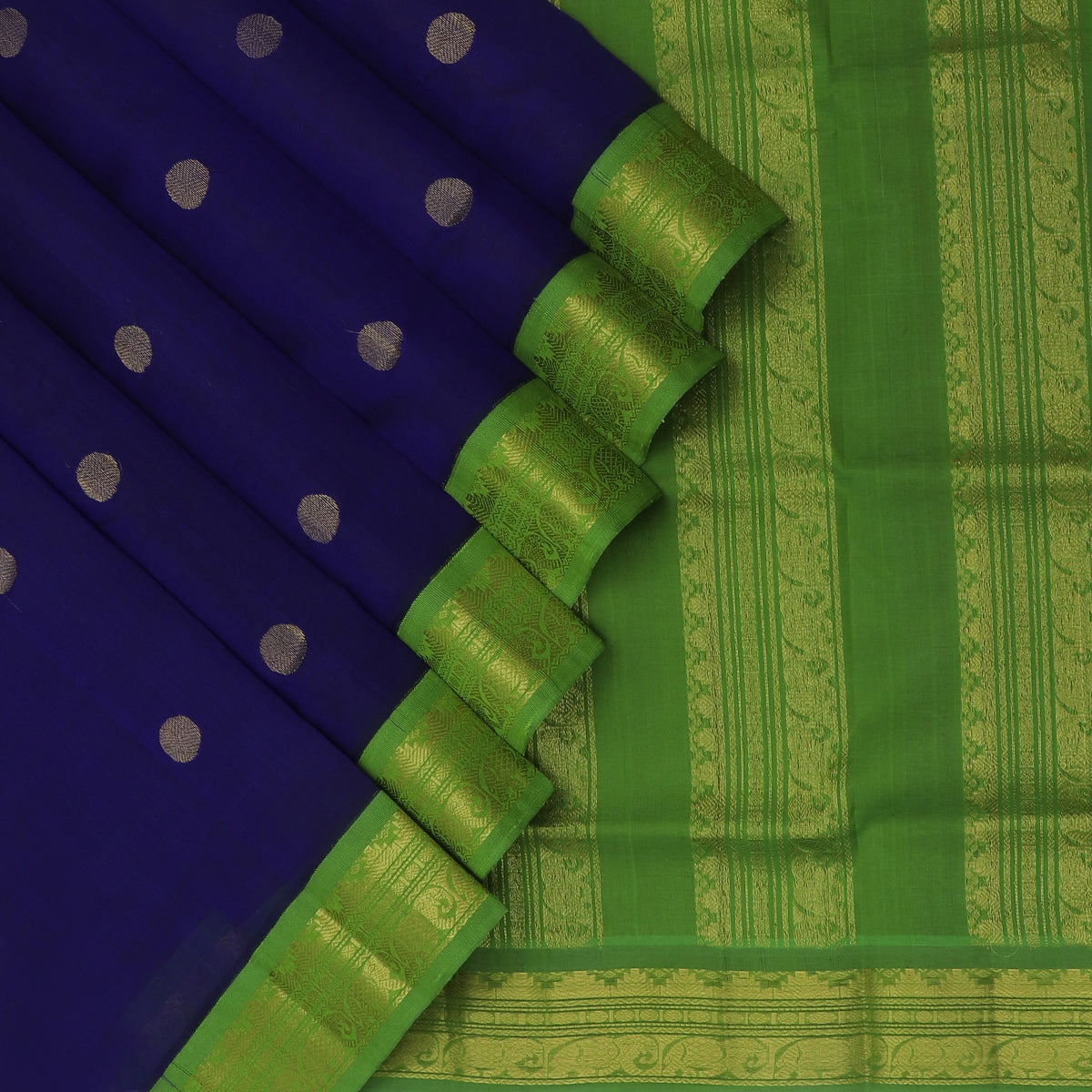 Silk Cotton Saree-Blue with buttas and Mehandi Green with Temple Zari border Korvai