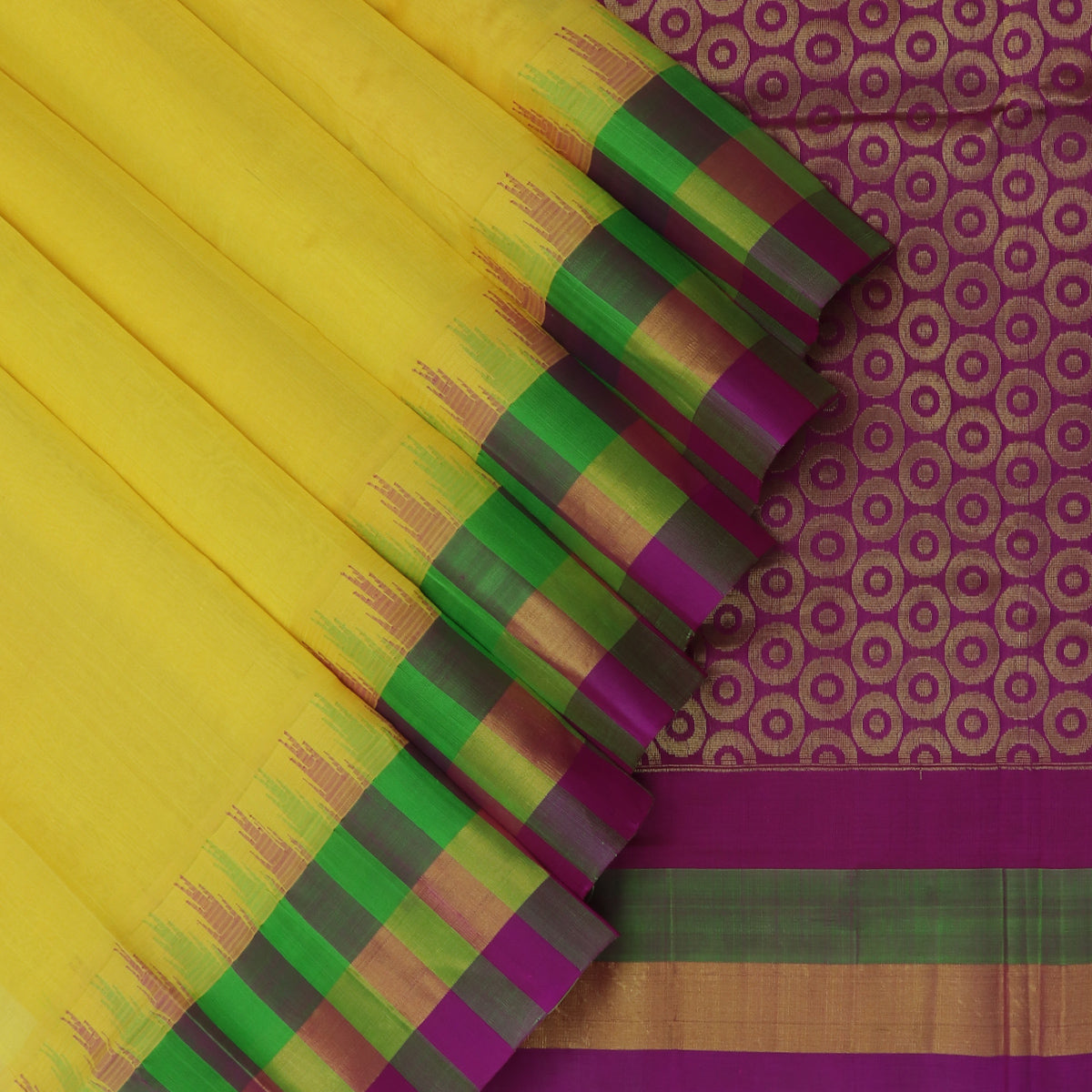 Kuppadam Silk Cotton Saree - Yellow and Violet with silk border