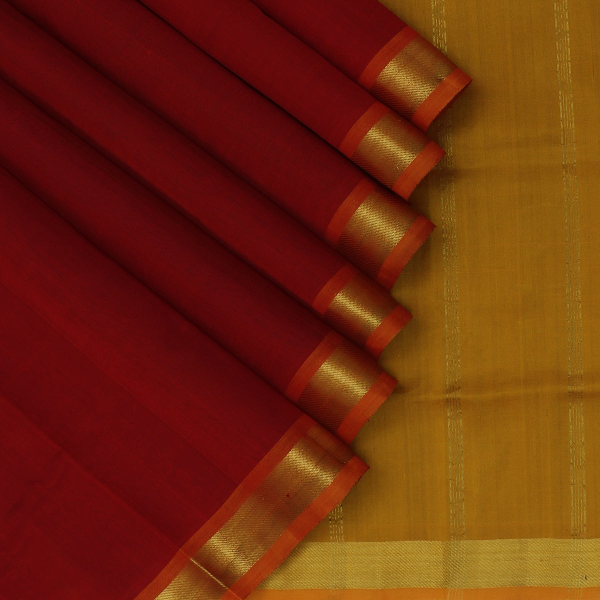 Silk Cotton Saree-Maroon and Mustard with Zari border