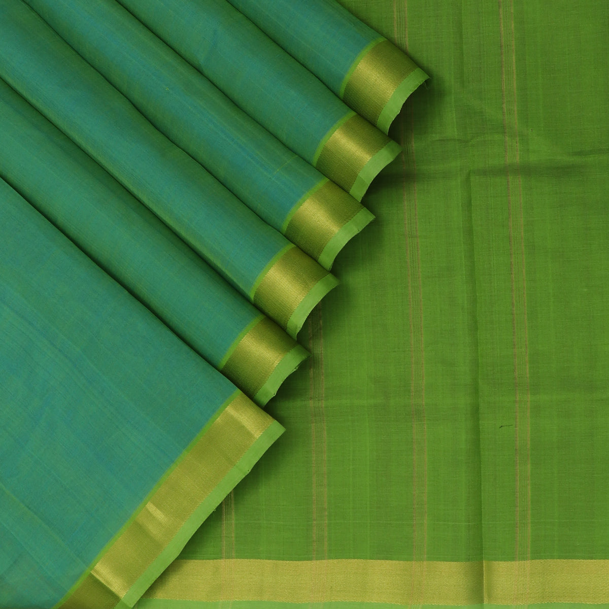 Silk Cotton Saree-Dual shade of Sky blue and light Green with Zari border